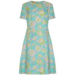 1960s Linen Floral Shift Dress