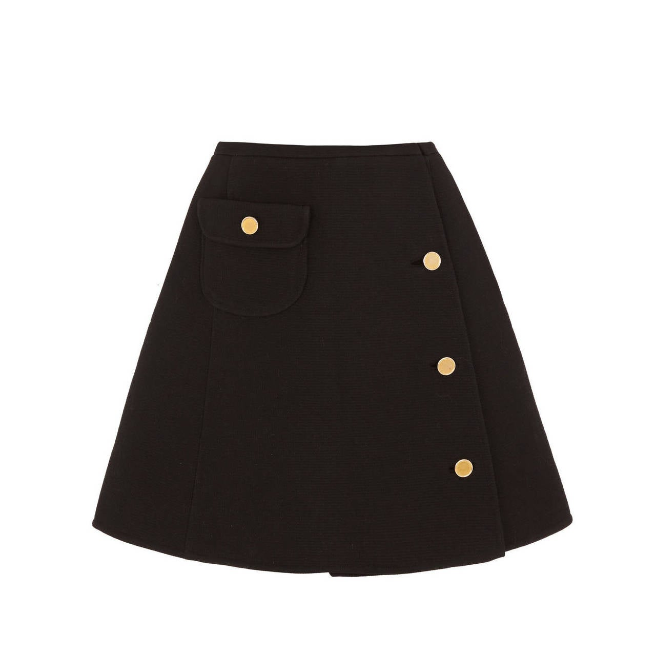 1960s Courreges Black Wool A-Line Skirt at 1stdibs