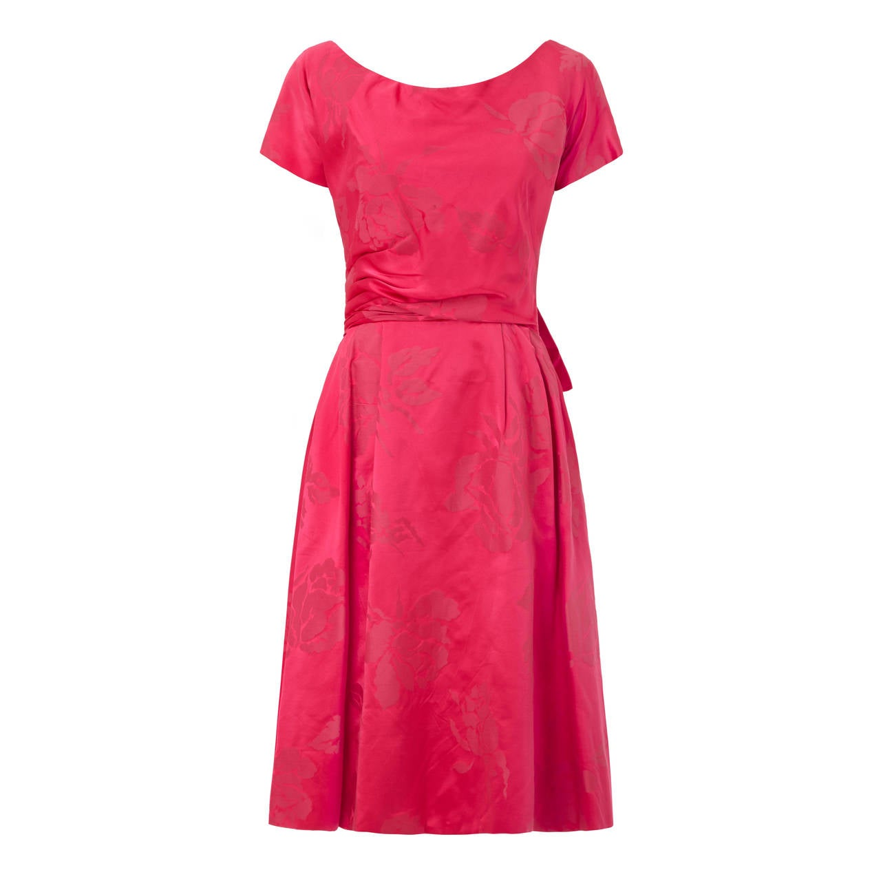 4cb8ae0a936 1950s Christian Dior Pattern Hot Pink Silk Floral Brocade Dress For Sale