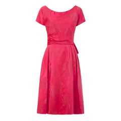 1950s Christian Dior Pattern Hot Pink Silk Floral Brocade Dress
