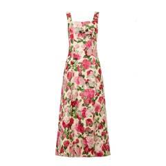 1950s Floral Jaquard Silk Custom Gown