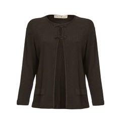1970s Jean Desses Metallic Black Knitted Cardigan