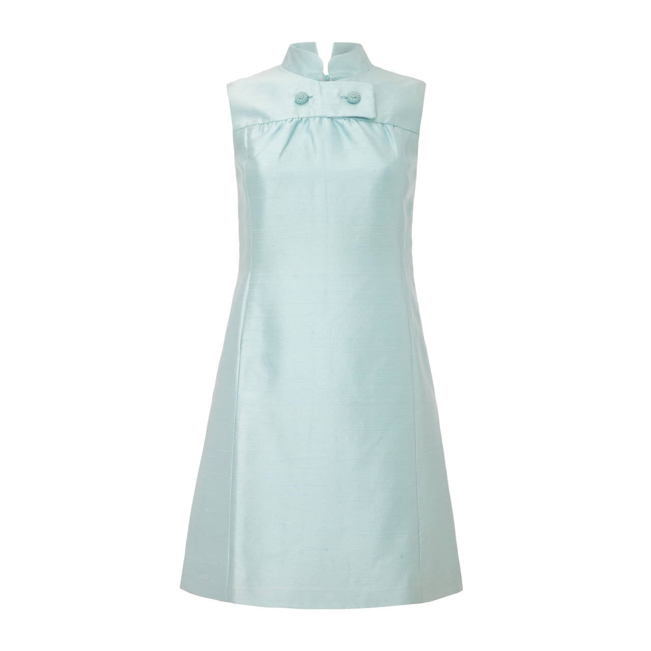 1960s Peck and Peck Pale Blue Silk Mini Dress 1