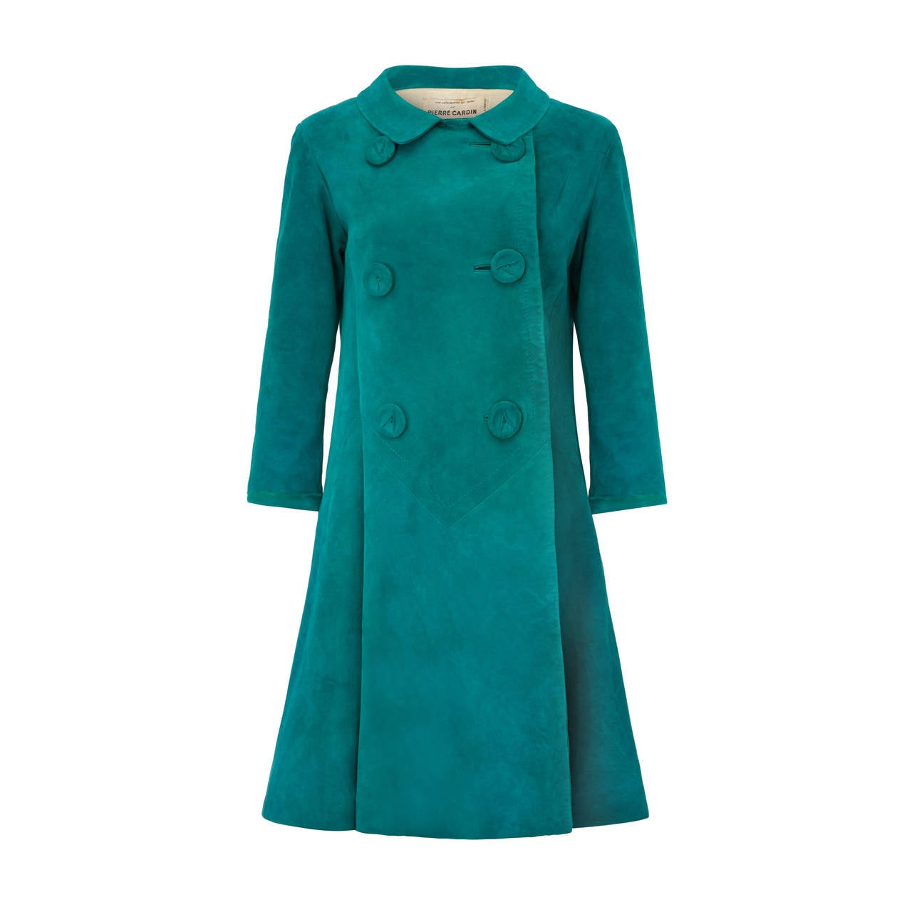 1960s Pierre Cardin Teal Suede Jacket For Sale