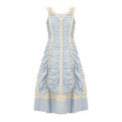 1950s Ruched Pale Blue Dress with Crochet Lace