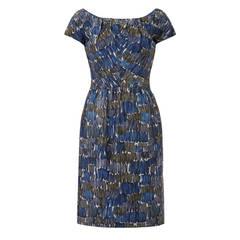 1950s Frank Usher Printed Blue Silk Dress