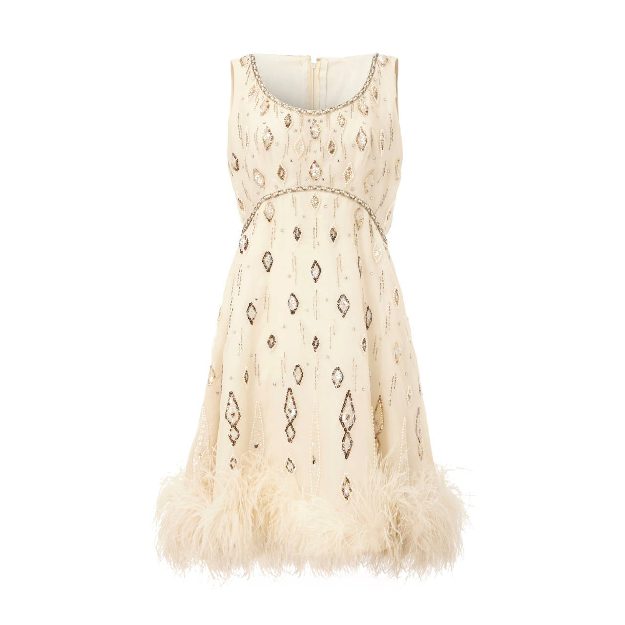 1960s White Beaded Dress With Feather Trim