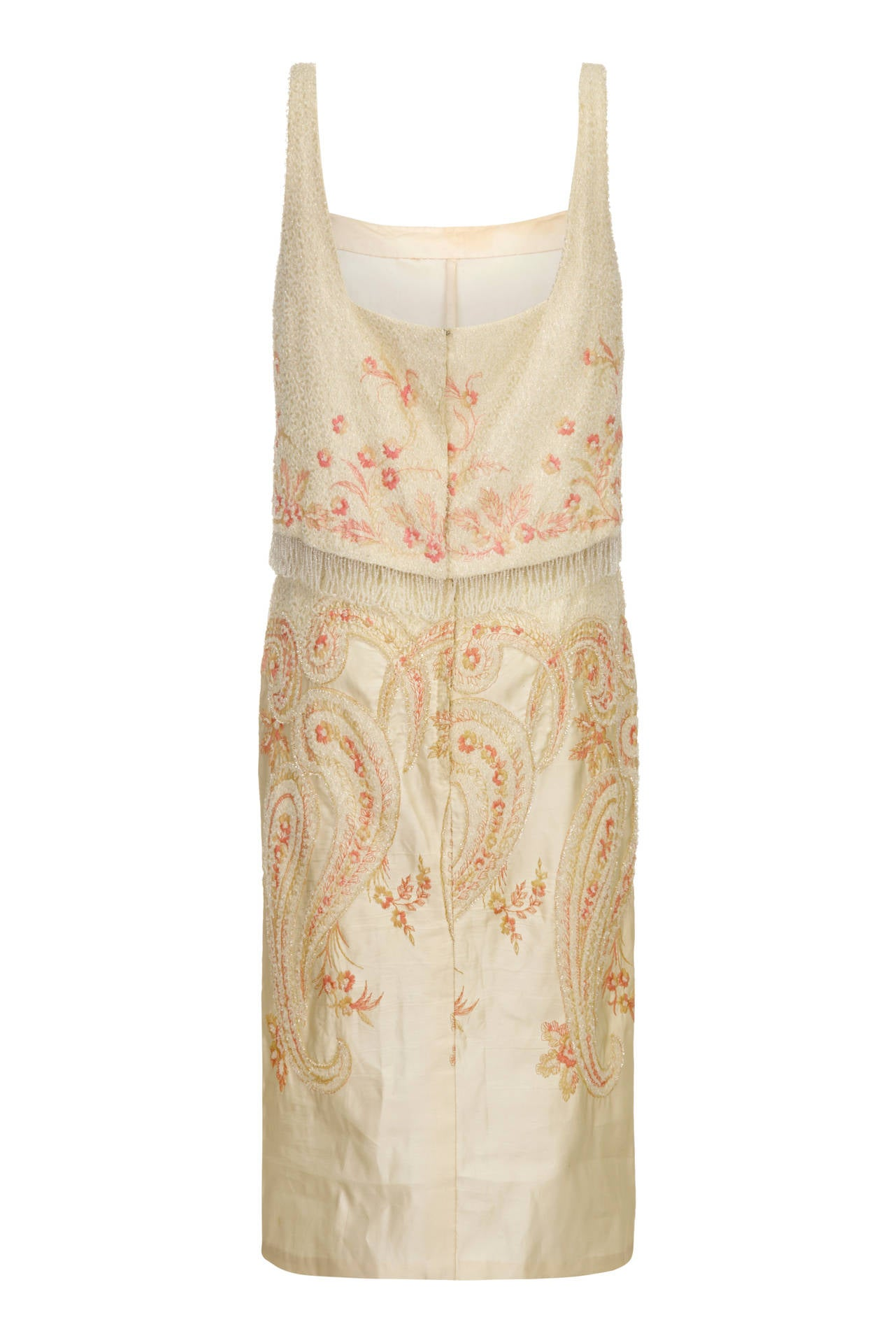 1960s Cream and Peach Beaded Cocktail Dress 2