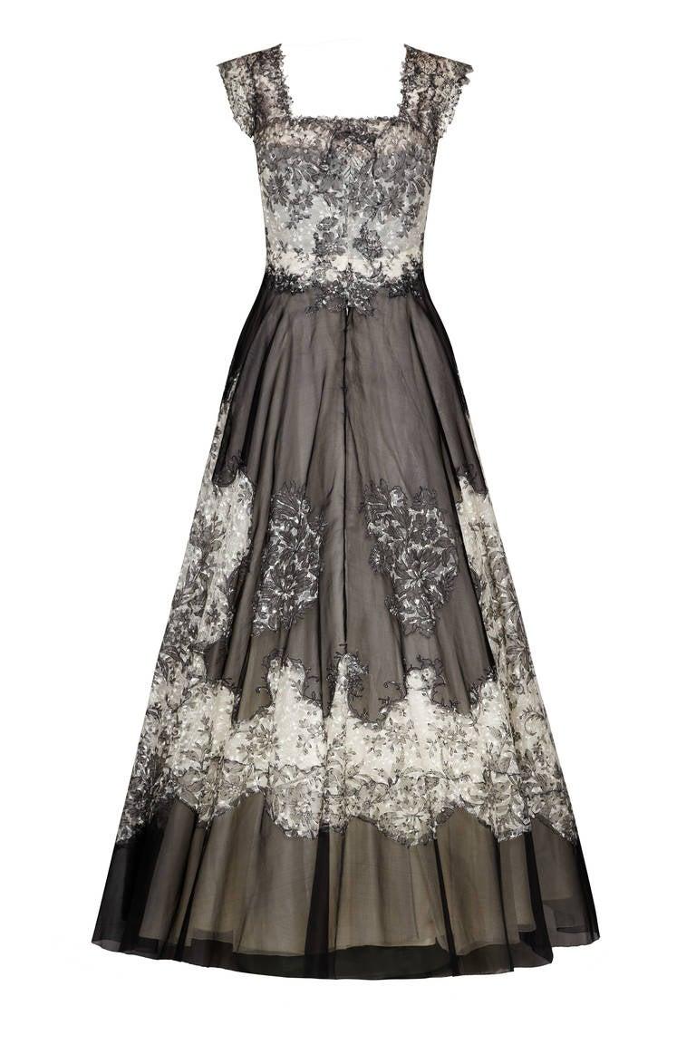 1950s Bergoff Goodman Lace Ball Gown 2