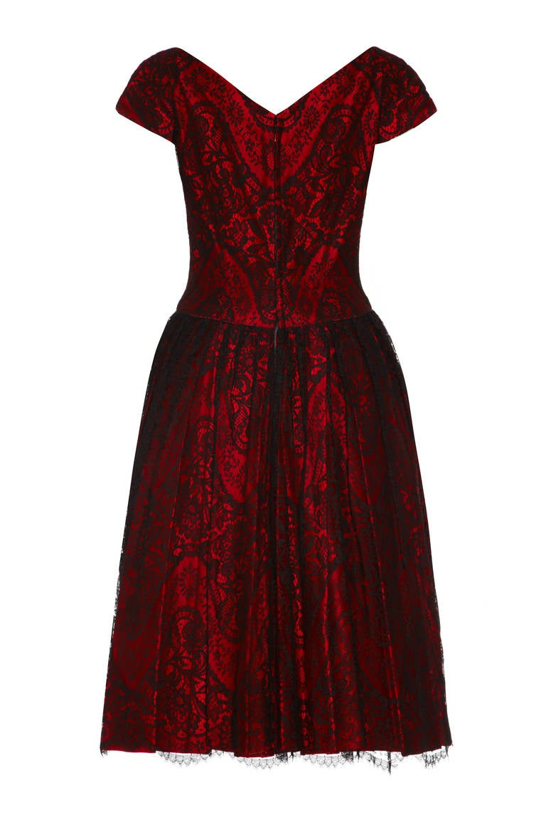 1950s Red Silk Dress with Black Lace 2