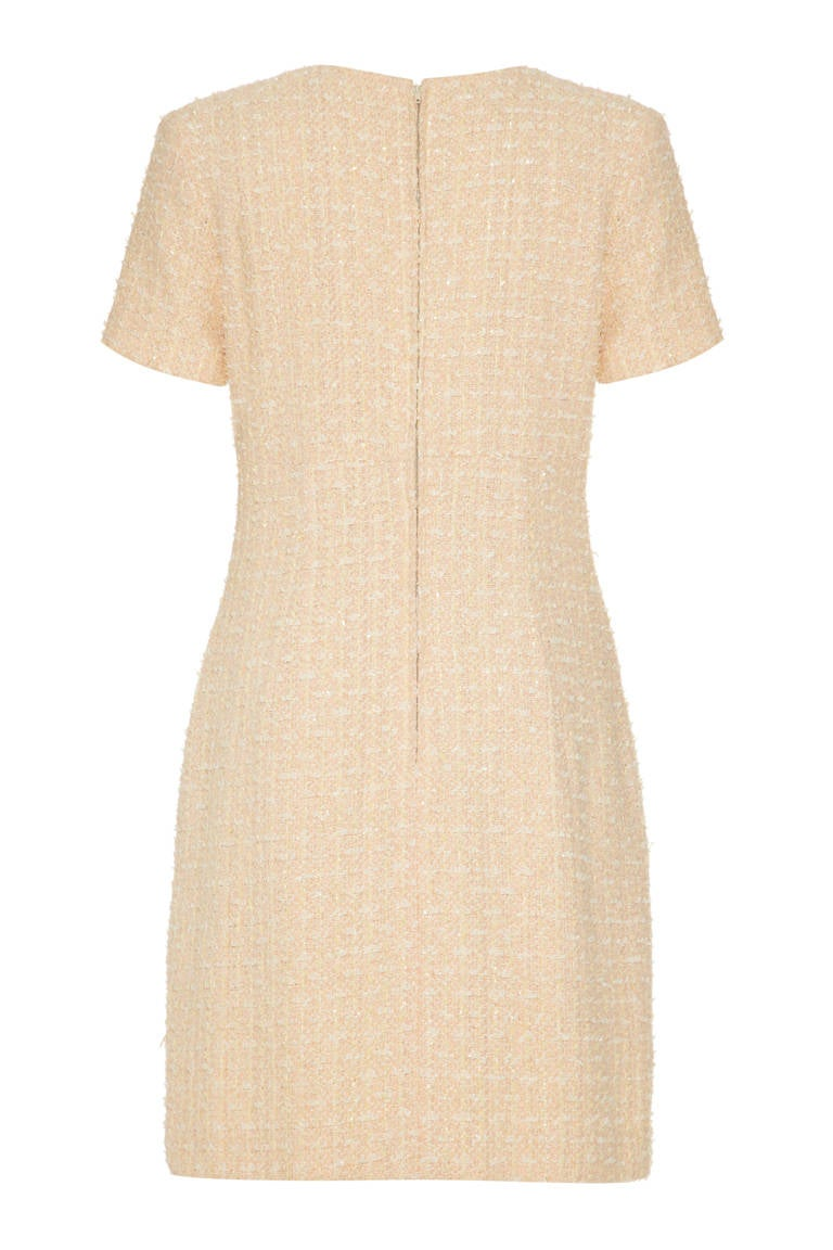 1960s Chanel Style Couture Fantasy Tweed Peach Dress 2