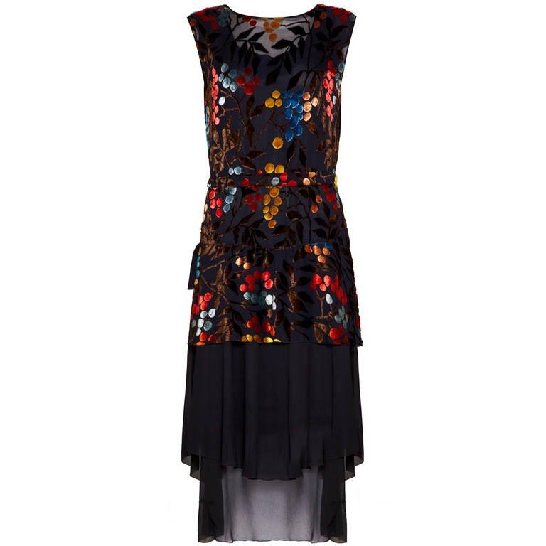 1920s Multicoloured Burn Out Velvet Flapper Dress For Sale