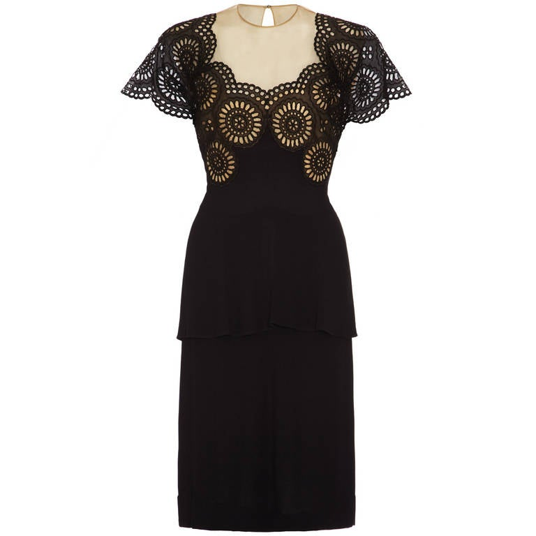 1940s Black Crepe Peplum Dress With Eyelet Work At 1stdibs