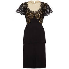 1940s Black Crepe Peplum Dress with Eyelet Work