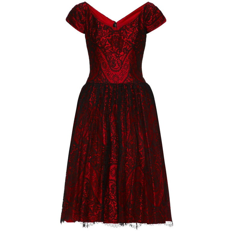1950s Red Silk Dress with Black Lace 1