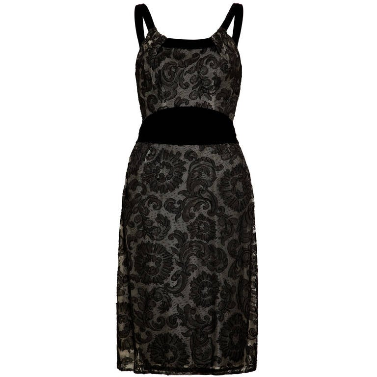 2f423d1138f 1960s John Cavanagh Lace and Velvet Couture Dress For Sale. Rare and  incredible black lace cocktail ...
