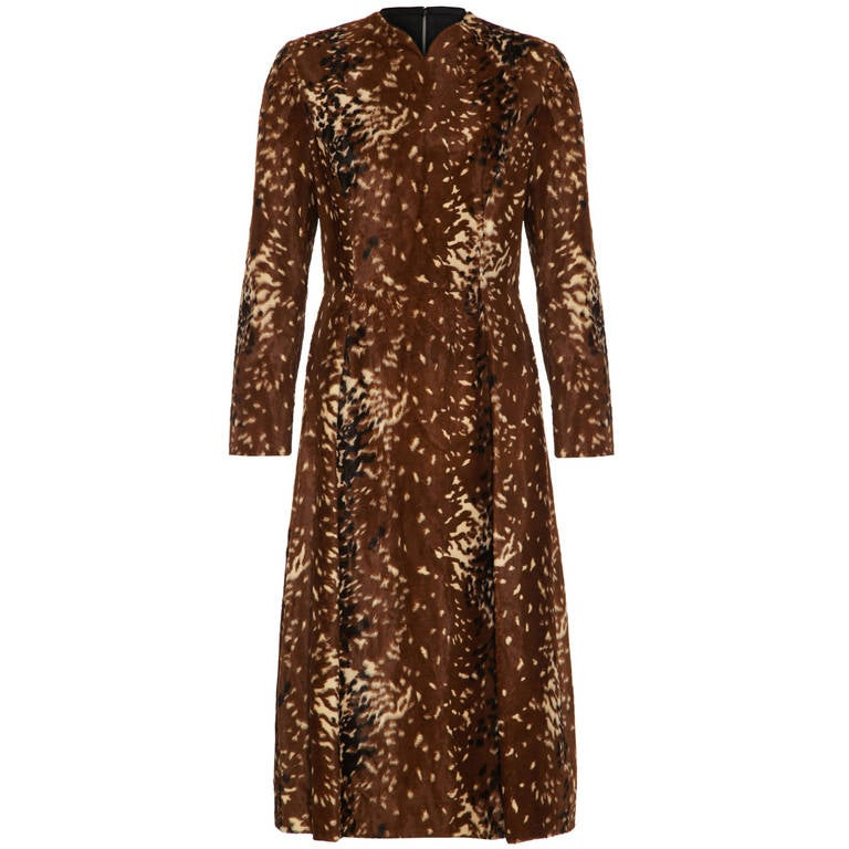 1950s Adele Simpson Faux Cowhide Dress