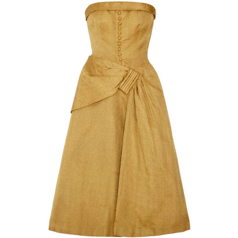 1950s couture dior style gold strapless dress at 1stdibs for Dior couture dress price