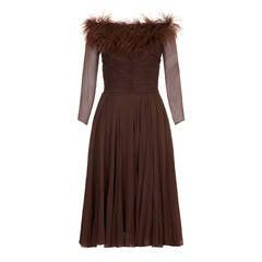 1950s Cardinal Brown Chiffon and Feather Dress