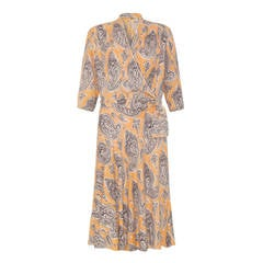1940s Peach Printed Crepe Dress