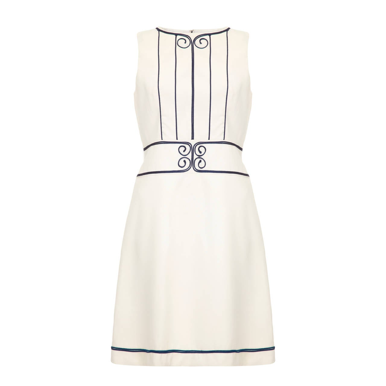 1960s Louis Feraud White Applique Dress