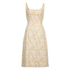 1950s Rappi Cream and Gold Floral Brocade Dress