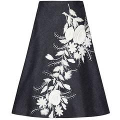 1950s Black Linen & White Raffia Italian Skirt