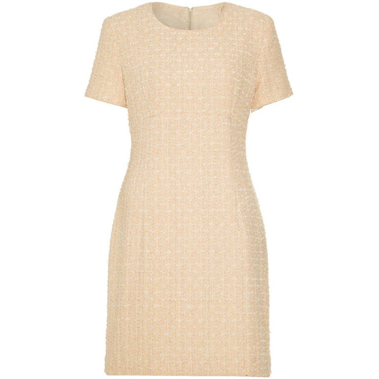 1960s Chanel Style Couture Fantasy Tweed Peach Dress 1