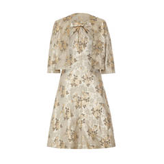 1960s French Couture Floral Brocade Dress Suit