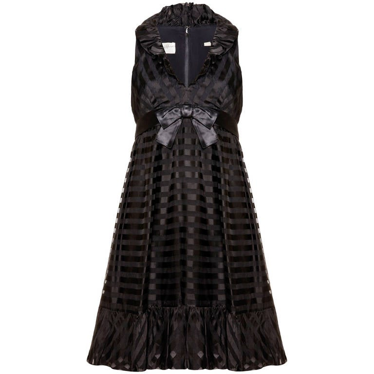 1960s Saks 5th Avenue Black Baby Doll Dress