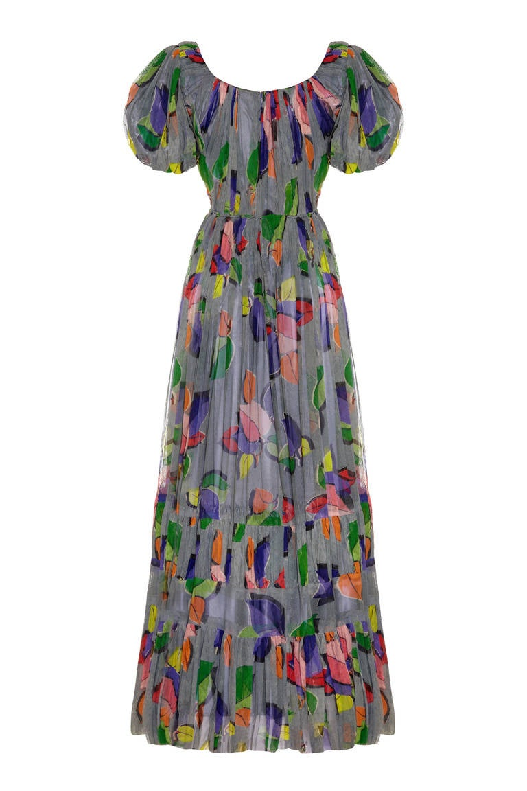 1930s french couture net leaf print dress at 1stdibs for French couture dresses