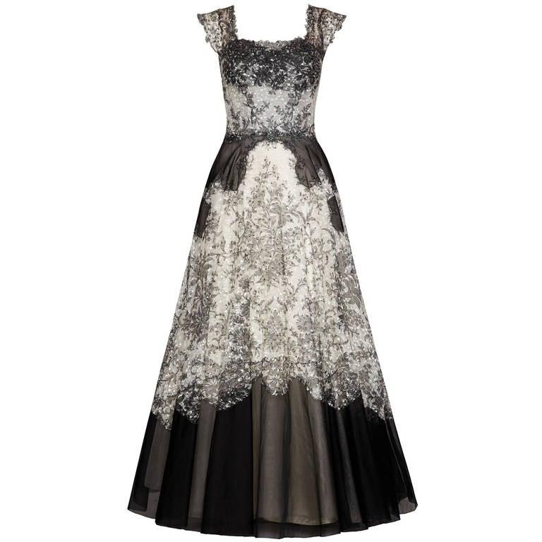 1950s Bergoff Goodman Lace Ball Gown 1