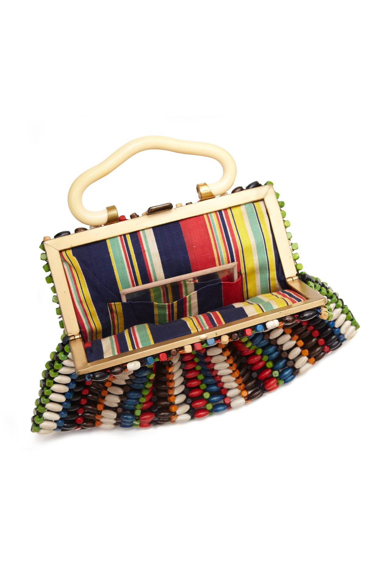 Super cute and kitsch 1940s multi-coloured wood beaded bag with ivory plastic handle.  Inside it is fully lined in coordinating multi-coloured striped cotton with interior pocket and mirror.  Fastens with a clasp and is in excellent