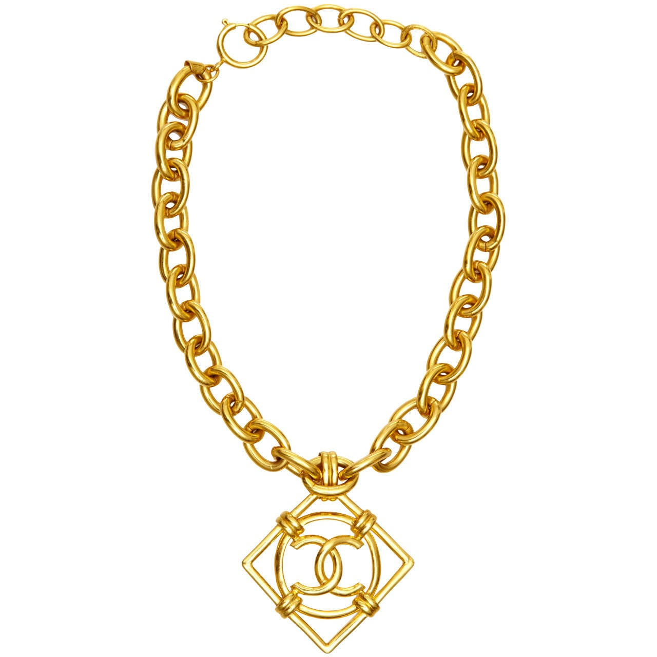 1990s Chanel Double C Necklace at 1stdibs