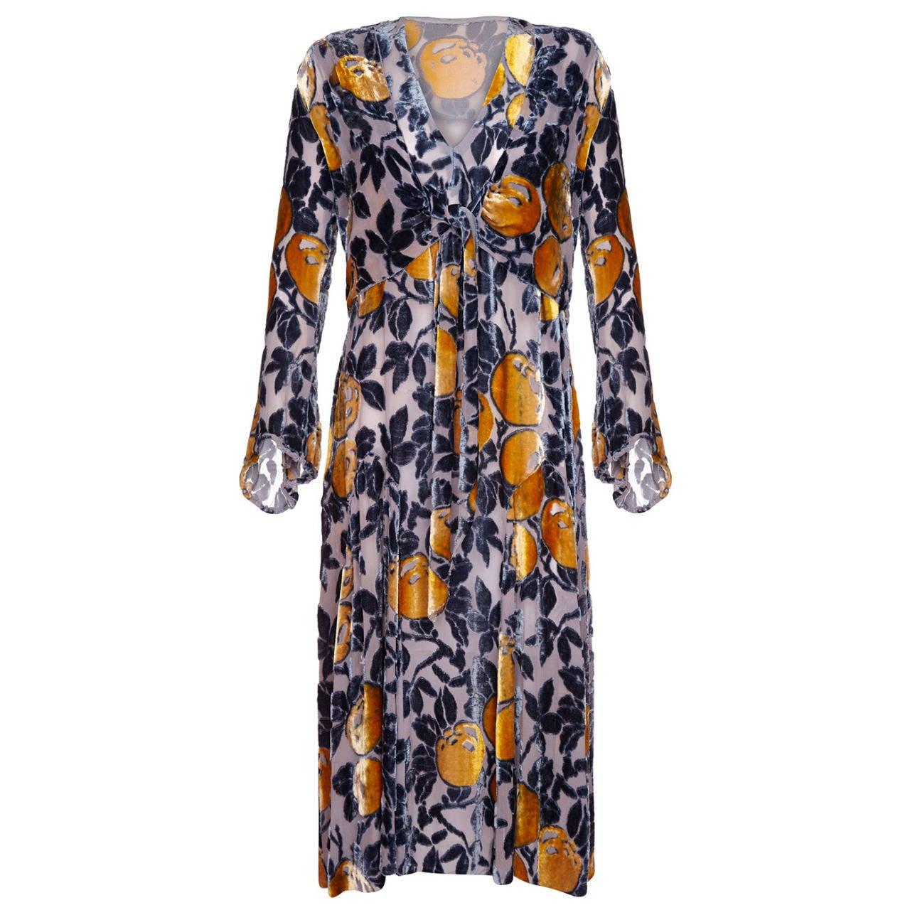 1920s Burnout Panne Silk Velvet Blue & Orange Flapper Dress & Jacket