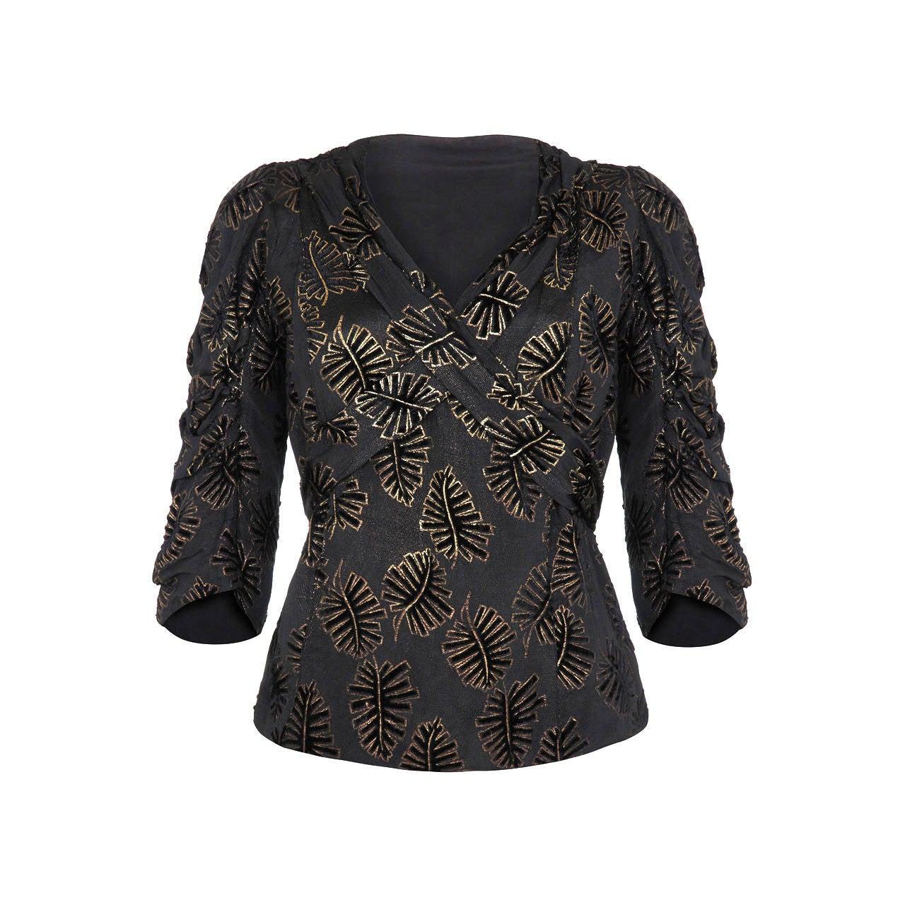 1930s Black and Gold Leaf Velvet Lame Top For Sale