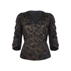 1930s Black and Gold Leaf Velvet Lame Top