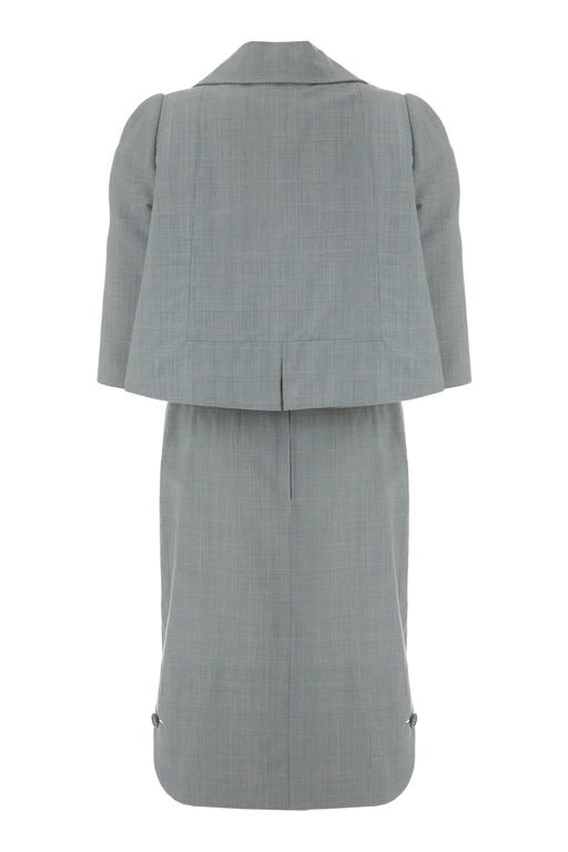 1960s Galanos Blue Check Dress Suit  2