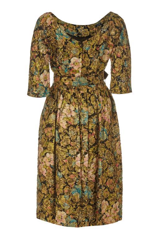 1950s Suzy Perette Floral Gold Lame Dress 2