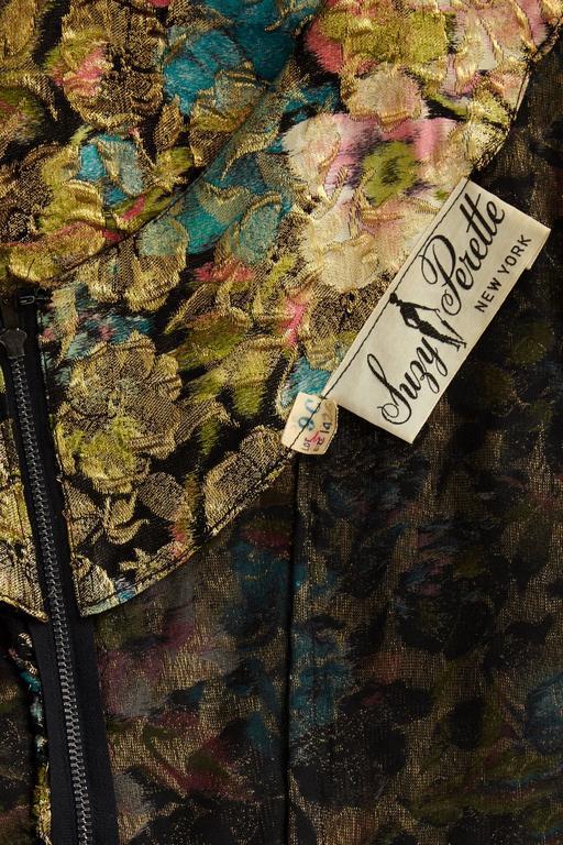 1950s Suzy Perette Floral Gold Lame Dress 3