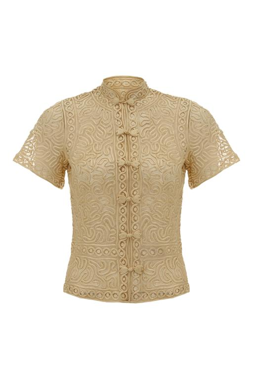 1920s Oriental Style Taupe Silk Tape Lace Blouse
