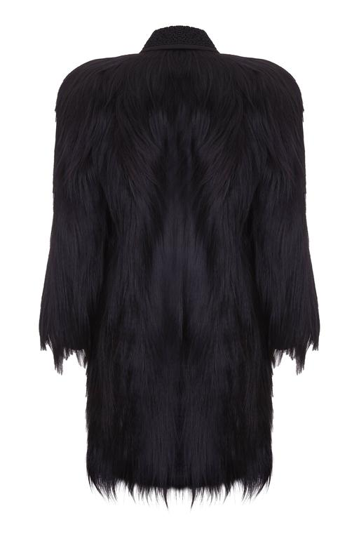 8a02ffcf586b A beautiful vintage black colobus monkey fur coat with black soutache  embroidered collar in truly excellent