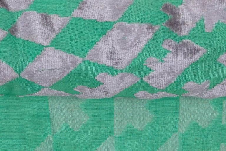 1920s Green and Silver Burn Out Velvet Shawl 2
