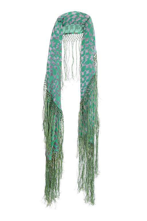 1920s Green and Silver Burn Out Velvet Shawl 3