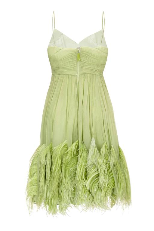 1960s Couture Green Chiffon Dress with Feather Trim  2