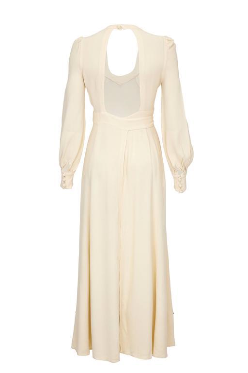 1970s Ossie Clark Buttermilk Moss Crepe Wrap Dress  2