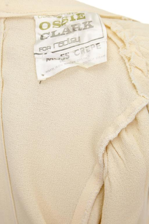 1970s Ossie Clark Buttermilk Moss Crepe Wrap Dress  3
