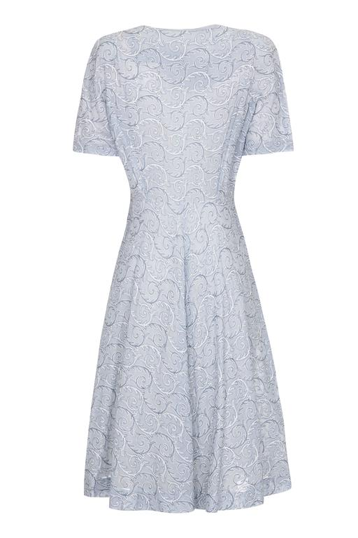 1950s Embroidered Pale Blue Cotton Dress  2