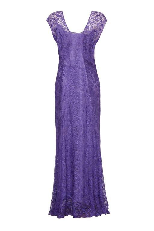 1930s Purple Lace Dress with Caplet  4