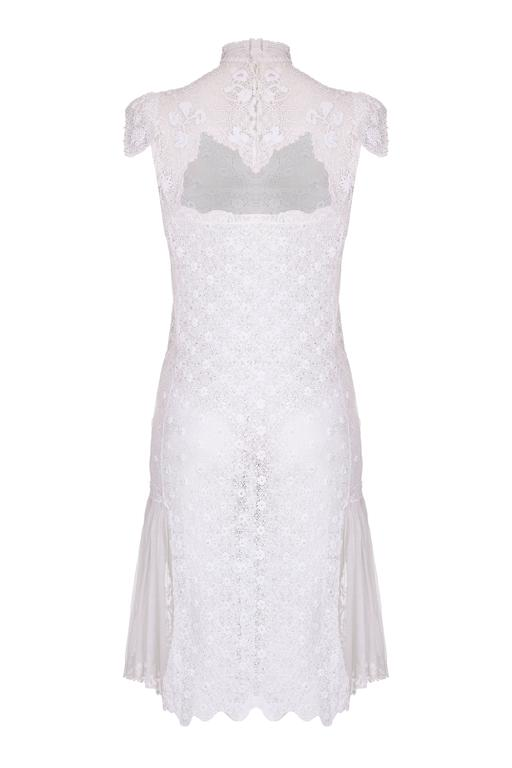 1920s Handmade Irish Crochet Lace White Dress For Sale At